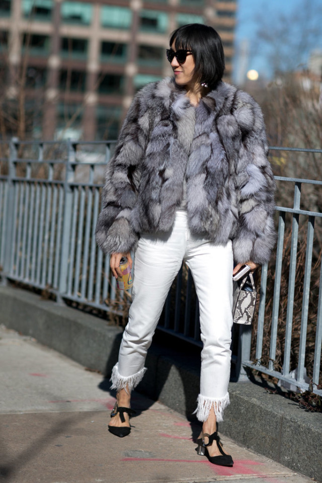 fringe hem-fringe jeans-white jeans in winter-ankle strap shoes-mary janes-fur coat-colored fur-eva chen-ny fw street style-winter out going out night out-ps