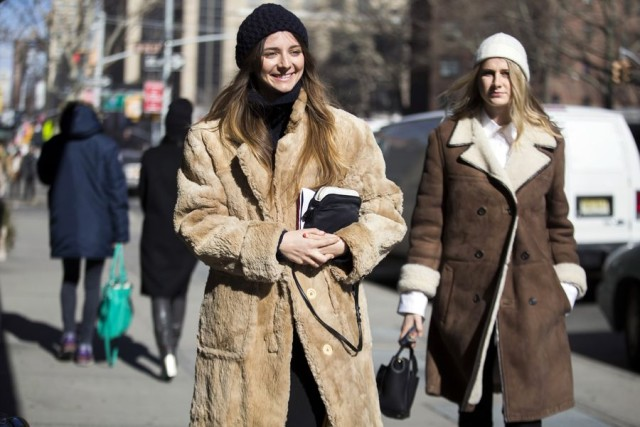 fur coat-shearling coat-nyfw street style 2016