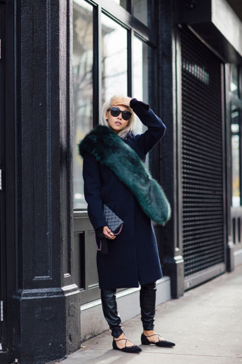 fur sash-navy coat-leather joggers skinnies-lace up ballet flats-colored fur-fur scarf-the haute pursuit-navy and black-emerald green