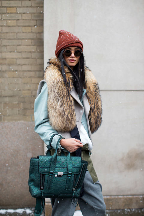 fur scarf-menswear-oversized pants-beanie-winter outfits-nyfw street style 2016-hbz