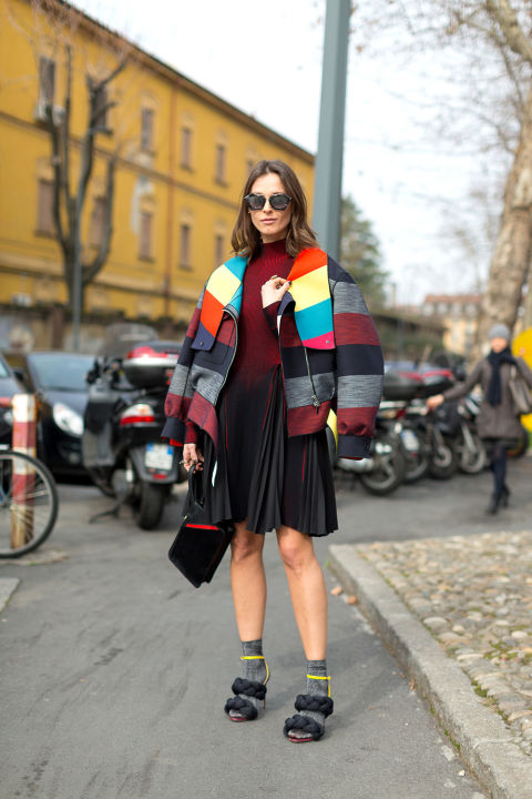 fur shoes-socks-colorblock coat-pleated dresss-knife pleats-milan fashion week street style-hbz