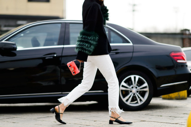 fur sweater-fur sleeves-slinbacks-block heels-bloch-frayed denim-white jeans in winter-milan fashion week street style-elle