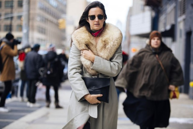 fur trim caot-scarf around neck-nyfw street style 2016