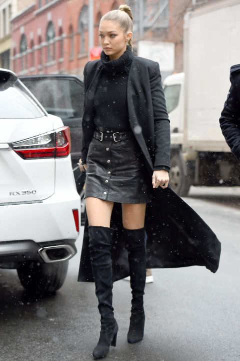 gigi hadid over the knee boots button front skirt turtleneck and skirt-black coat all black-winte routfit-going out night out date night-mc