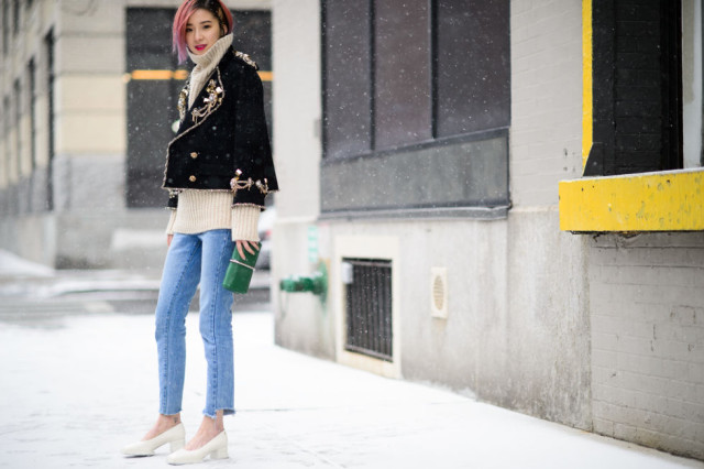 glove shoes-turtleneck sweater-embellished military jacket-cropped jeans-frayed jeans-nyfw street style 2016 elle
