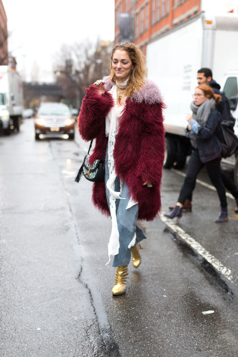 gold booties-skinny scarf-colored fur-nyfw street style hbz