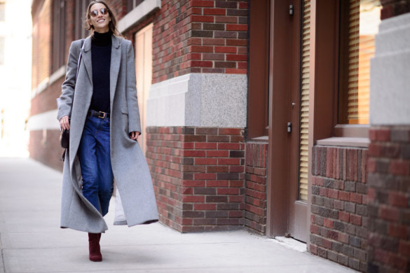 grey coat-turtleneck-booties and jeans-weekend brunch outfit-nyfw street style-elle