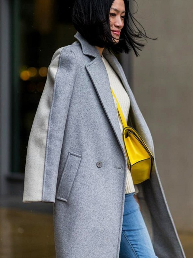 grey coat-yellow bag-sweater and jeans-weekend brunch-lfw street style fall 2016-www