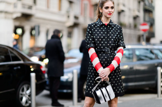 grommets-belted-short sleeve coat-stripes-bold stripes-red and white stripes-chiara ferragam-blonde salada-elle-mfw street style