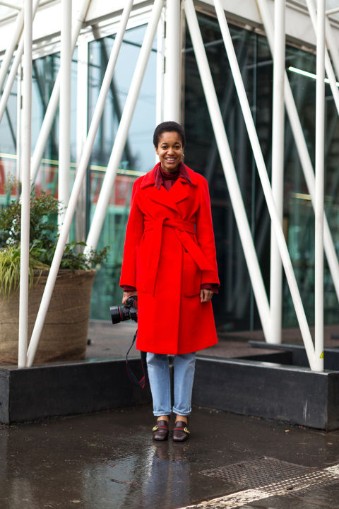 gucci loafers-red robe caot-milan fashion week street style-hbz