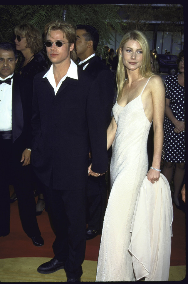 Actors Brad Pitt and Gwyneth Paltrow at the Academy Awards. (Photo by Mirek Towski/DMI/The LIFE Picture Collection/Getty Images)