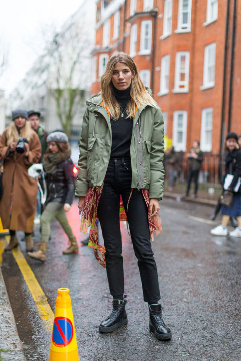 london fashion week street style, all black, turtleneck, army jacket