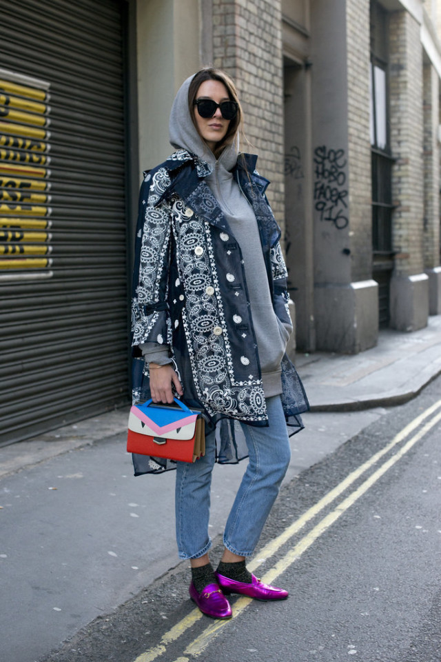 hoodie-statement coat-decorated embellished coat-socks-metallic loafers-lfw street style-psuk-