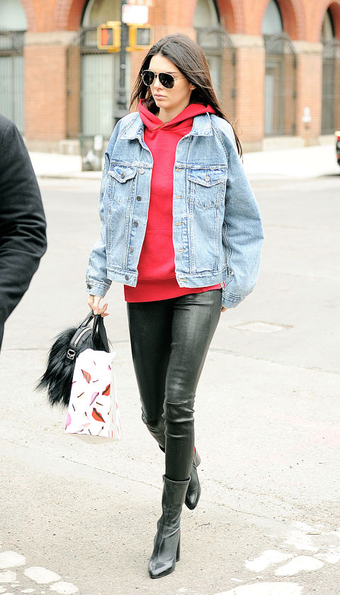hoodie-weekend outfit-leatehr skinnies-black booties-ankle boots-denim jacket in winter-red and black-kendall jenner-weekend outfit-nyfw hbz