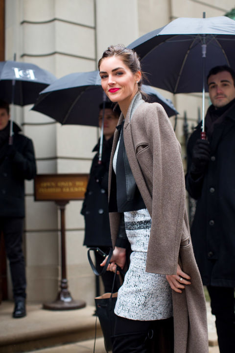 ilary rhoda-skirt suit-grey tweed skirt-double jacket-neutral greiege jacket-model off duty style-winter work outfit-winter outfits-nyfw street style 2016-hbz