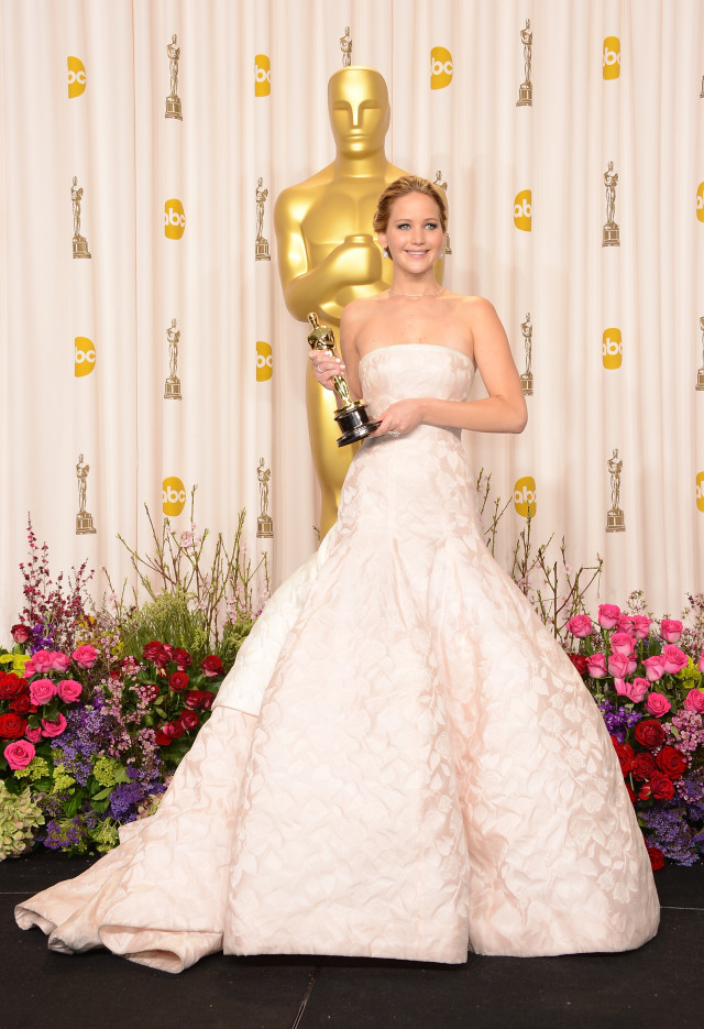 HOLLYWOOD, CA - FEBRUARY 24: Actress Jennifer Lawrence, winner of the Best Actress award for 'Silver Linings Playbook,' poses in the press room during the Oscars held at Loews Hollywood Hotel on February 24, 2013 in Hollywood, California. (Photo by Jason Merritt/Getty Images)