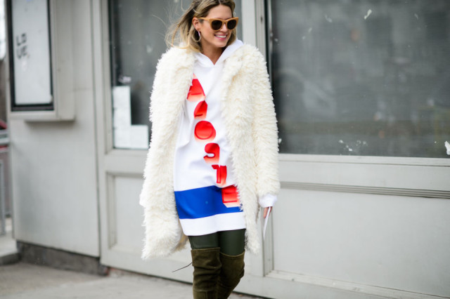jersey-over the knee boots-furry jacket-hoodie-graphic-nyfw street style-elle