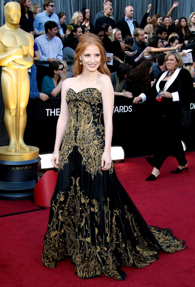 HOLLYWOOD, CA - FEBRUARY 26: Actor Jessica Chastain arrives at the 84th Annual Academy Awards held at Hollywood & Highland Centre on February 26, 2012 in Hollywood, California. (Photo by Dan MacMedan/WireImage)