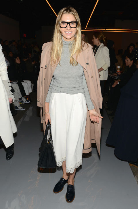 jessica hart-glasses-winter white-culottes-grey turtleneck-trench coat-alce up loafers-geek chic-nyfw