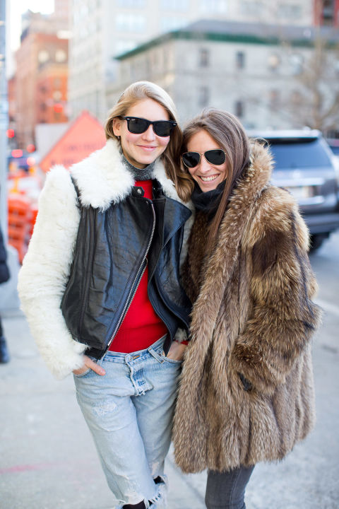 jessica minkoff-fur coat-sred-turtleneck-mixed material jacket-mallory schlau-winter outfits-what to wear when its freezing-nyfw 2016 street style-hbz