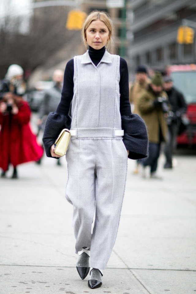 jumpsuit in winter-puff sleeves oversied sleeves-turtleneck-socks with shoes-winter outfit-office to out-nyfw street style-ps