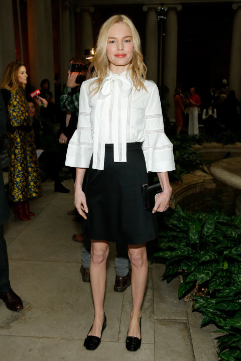 kate bosworth-black and white-spring work outfit-belle sleeves tie neck blouse-knee skirt-flats-caroline herrera-winter work outfit-spring-nyfw-