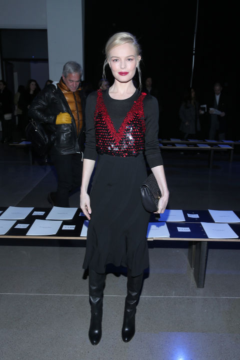 kate bosworth-black midi dress flounce dress-red sequins-going out night out-black boots-winter party outfit-vday-nyfw