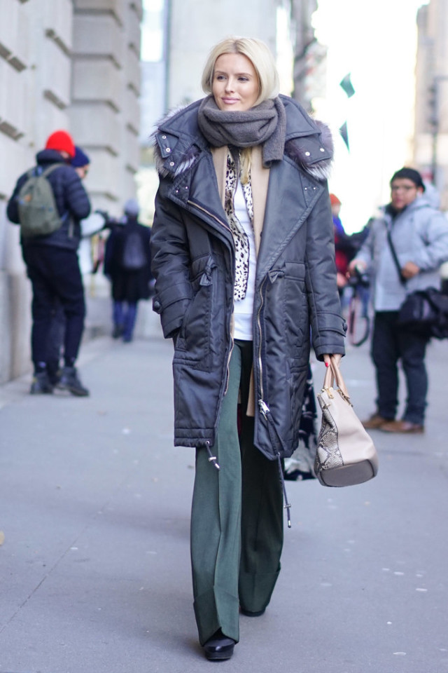 kate davidson-parka-fur trim parka-doulbe coat-camel coat-leopard print blazer-army pants-flares-scarf-kate davidson-nyfw street style-work outfit-wheresmydriver-insta