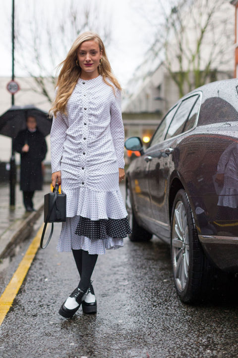 lace up platform loafers-black adn white-polka dot-ruffled-shirt ress-black tights-work-f-spring to winter-kate foley-fw street style-hbz-work