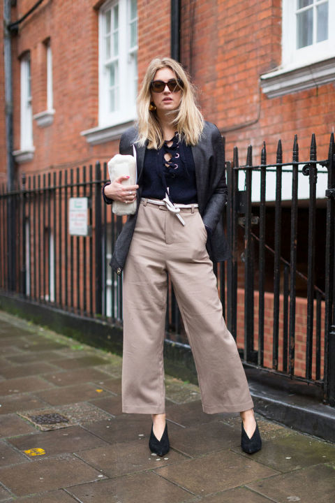 lace up tops-culottes-rope belt-blazer-glove shoes-work outfits-fw street style-hbz