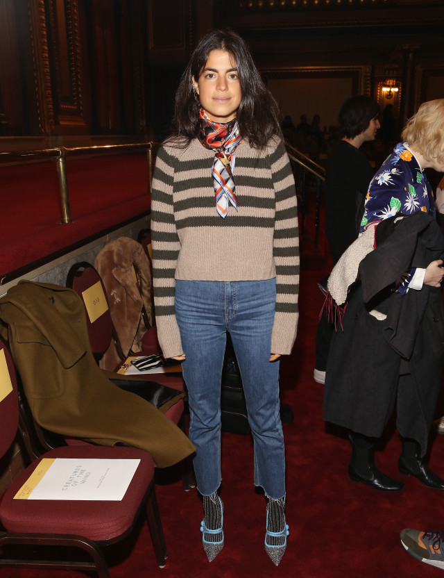 Leandra Medine of Man Repeller, striped sweater, brown and camel, scarf around neck, silk scarf, frayed jeans, high waisted mom jeans, cropped jeans, socks and shoes, tights under pants, nyfw street style, nyfw fall/winter 2016, new york fashion week, winter to spring dressing, winter outfits, what to wear when it's freezing, layering, layers,