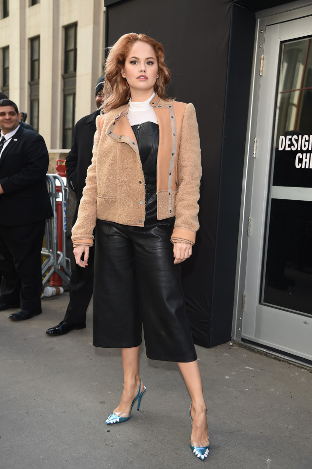Debby Ryan, black leather overalls, culotte jumpsuit, spring work outfit, culotte overalls, cropped jumpsuit, cropped overalls, black and white, shearling moto jacket, printed pumps, slingback pumps, nyfw street style, nyfw fall/winter 2016, new york fashion week, winter to spring dressing, winter outfits, what to wear when it's freezing, layering, layers,