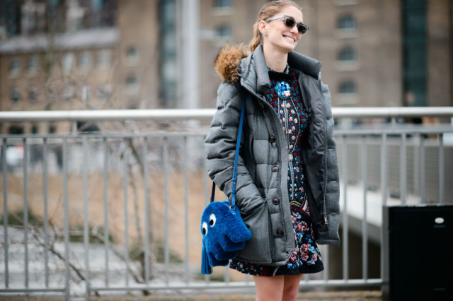 lfw-floral dress-embroidered-fur trim parka-fall work fur bag-ghost bag-