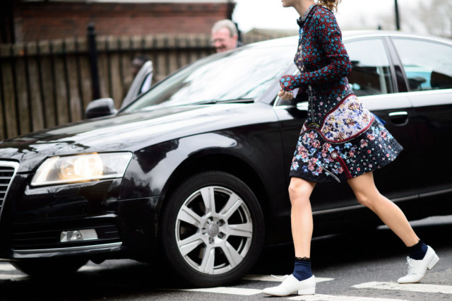 lfw-floral dress-socks white oxfords lace ups-fall work -elle