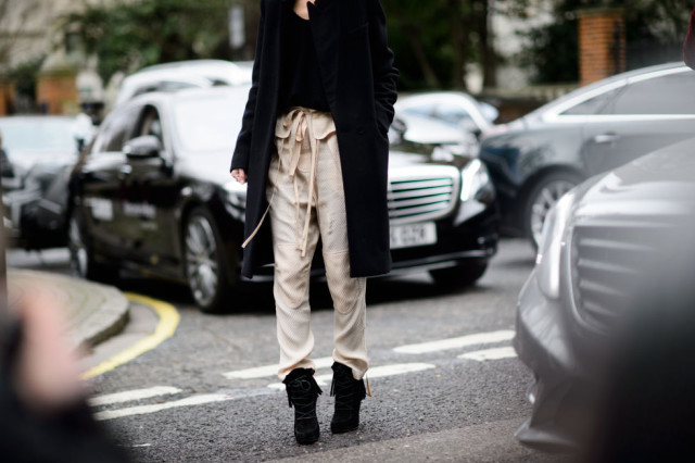 lfw-paperbag pants-fringe booties-black coat-elle
