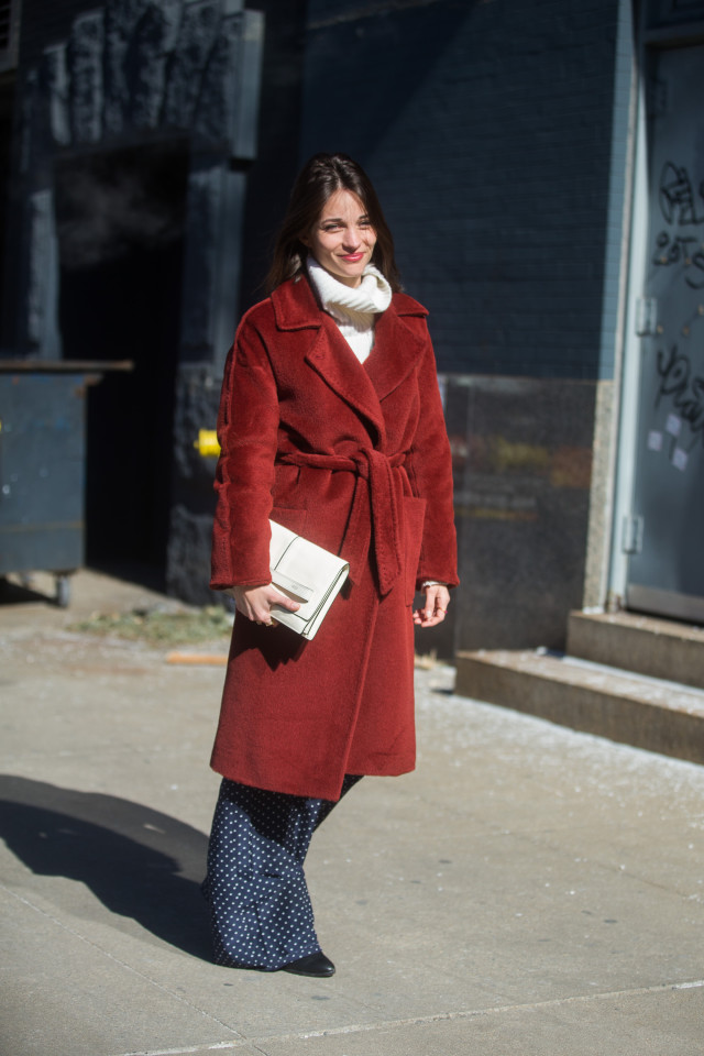 maria duenas jacobs-printed pants-pajama pants-red coat-white turteleneck sweater-winter outfit-work going out weekend