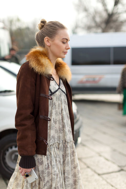 maxi dress-fur trim coat-suede bomber jacket-milan fashion week street style-hbz