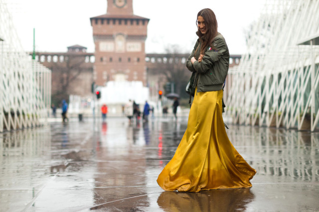 maxi skirt dress-mustard-bomber jacket-baseball jacket-milan fashion week street style-hbz