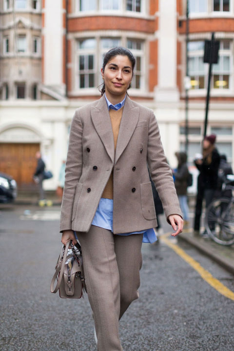 menaswwear-pants suit-camel suit-sweater over button up shirt-caroline issa-fw street style-hbz-work