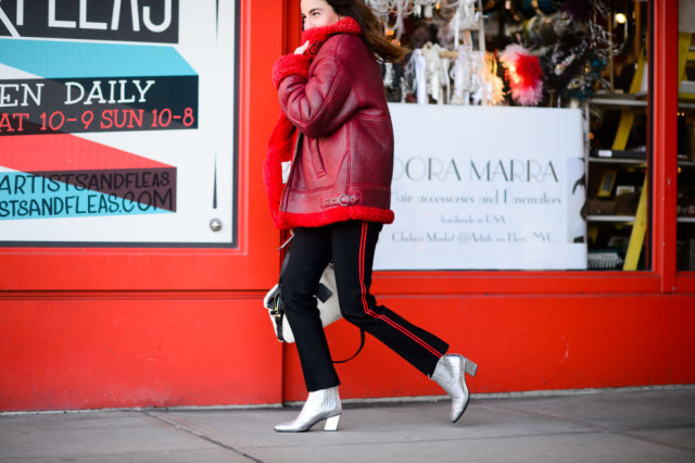metallic booties-racing stripe pants-colored fur-red jacket statement jacket-red adn black-nyfw street style-elle