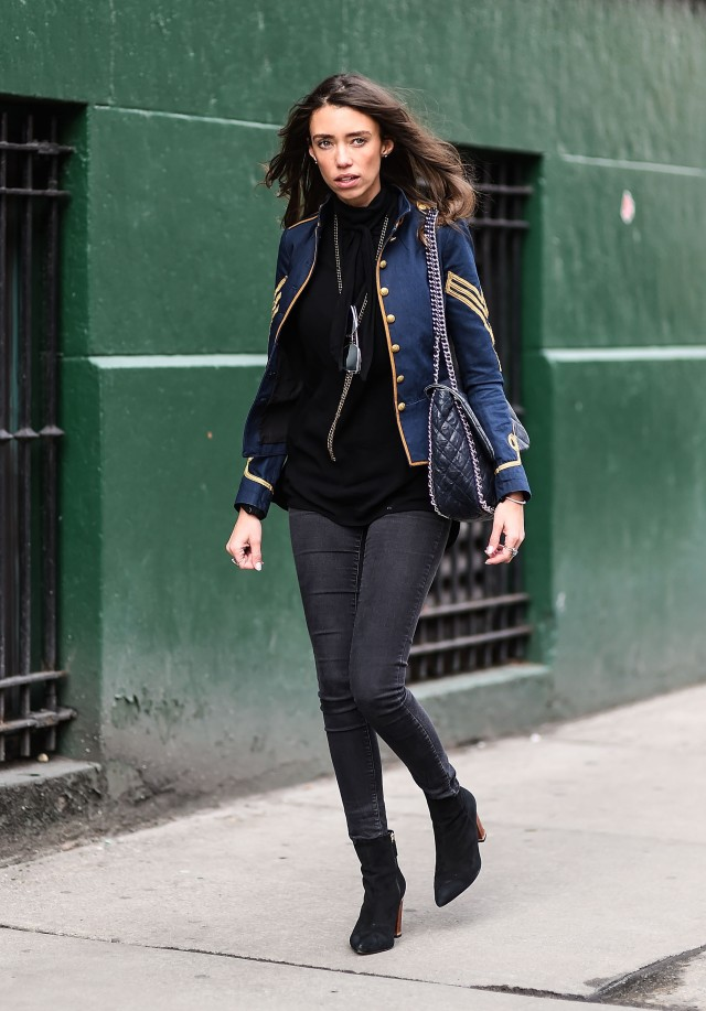 military jacket, double jacket, black booties, black skinnies, layers, nyfw street style, nyfw fall/winter 2016, new york fashion week, winter to spring dressing, winter outfits, what to wear when it's freezing, layering, layers, Thania Peck