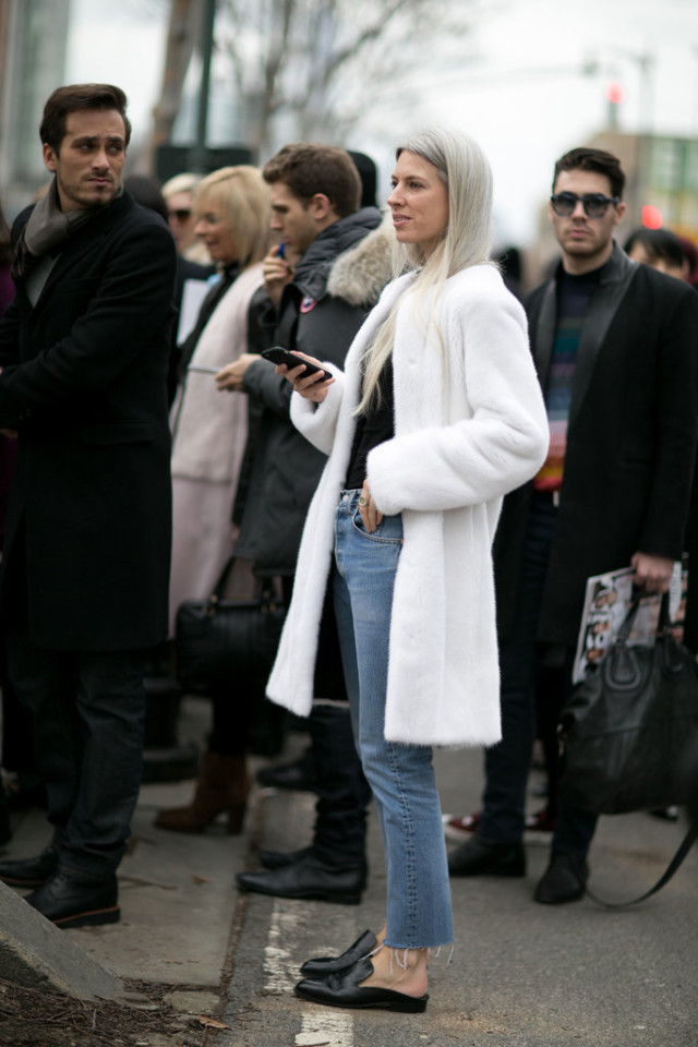 mules loafer slides-frayed denim-cropped jeans-white fur coat-nyfw street style-weekend brunch-ps