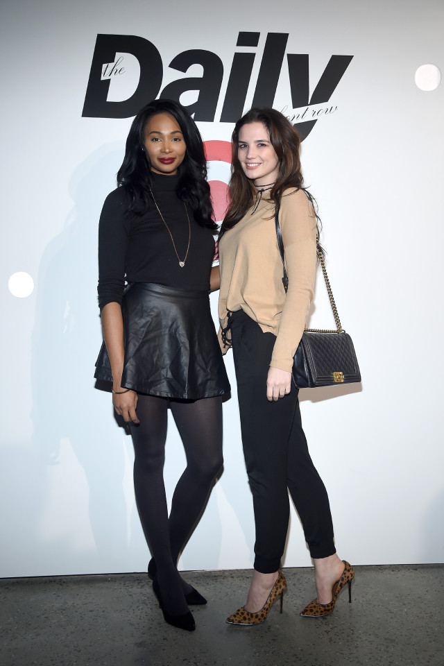 night out, party, going out, black leather mini skirt, sheer tights, turtleneck and skirts, all black, black skinnies, leopard print heels, nyfw street style, nyfw fall/winter 2016, new york fashion week, winter to spring dressing, winter outfits, what to wear when it's freezing, layering, layers, Nana Meriwether and Lauren Plescewicz, what to wear out when it's freezing outside