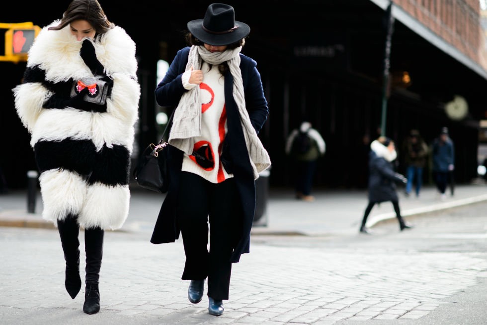 nyfw-bundled up-colored fur-black and white fur-boots-wide brim hat-winter-elle