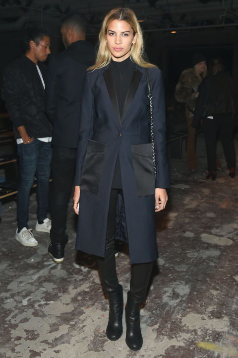 nyfw-navy and black-navy tuxedo riding jacket-black cropped leather pants-mockneck top-leather booties-nyfw-