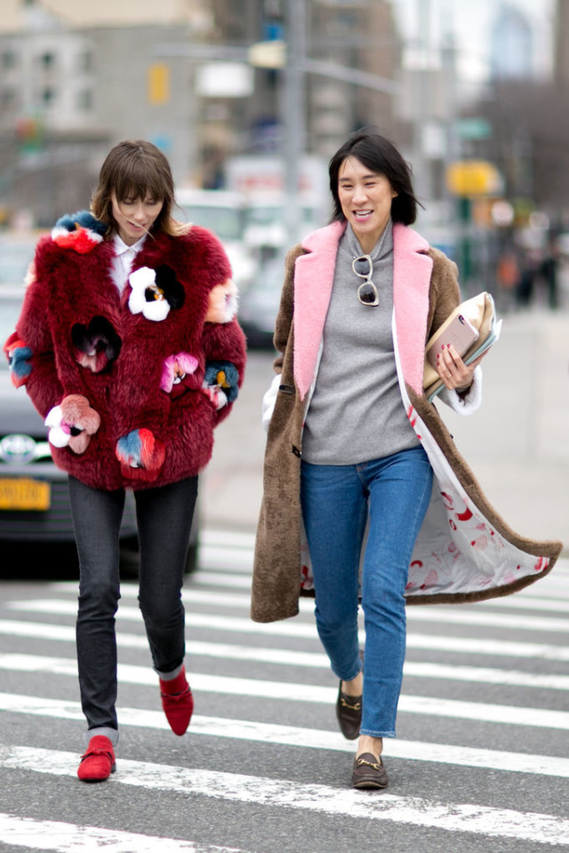 nyfw street style-eva chen-grey turtleneck cropped jeans-gucci loafers-fur coat-colorblock coat-colored fur-floral fur-statement coat-nyfw street style-ps