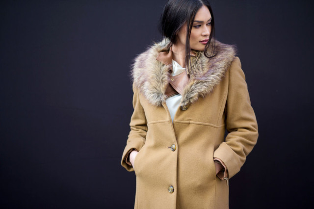 nyfw street style, nyfw fall:winter 2016, new york fashion week, winter to spring dressing, winter outfits, what to wear when it's freezing, layering, layers, double jackets double coats-fur trim coat moto jacket-hbz