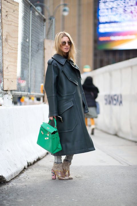 nyfw street style, nyfw fall:winter 2016, new york fashion week, winter to spring dressing, winter outfits, what to wear when it's freezing, layering, layers, socks and booties, statement coat-green bag-ada kokosar-hbz