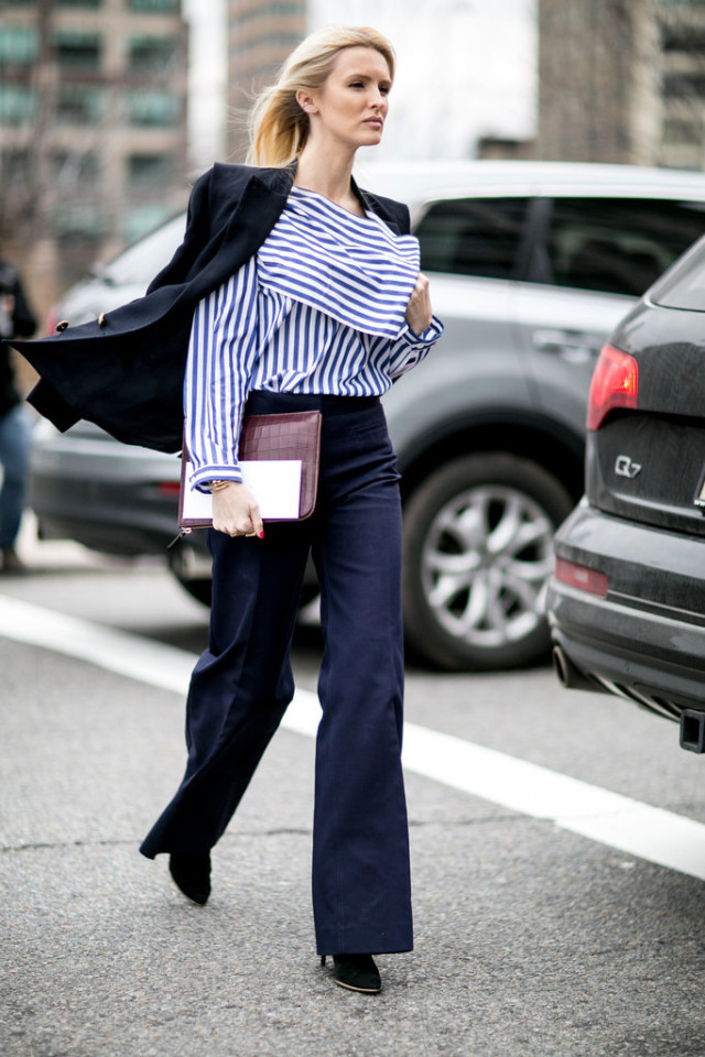 nyfw street style-striped shirt-wide leg jeans-navy blazer-kate davidson hudson-ps