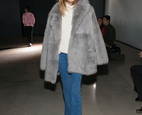 olivia palermo-flare jeans-turtleneck sweater-grey fur coat-winter work weekend outfit-night out going out-tibi-nyfw getty